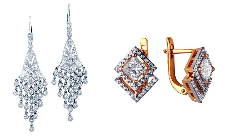 Золотые серьги с бриллиантами, ювелирные изделия