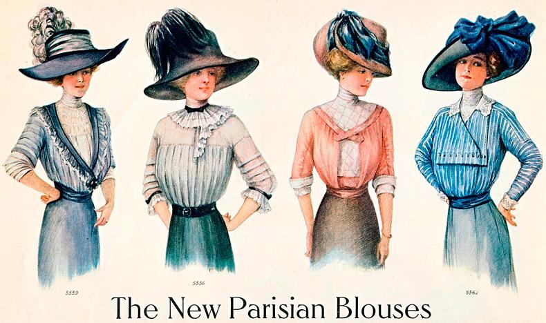 Винтажная мода в старинных иллюстрациях