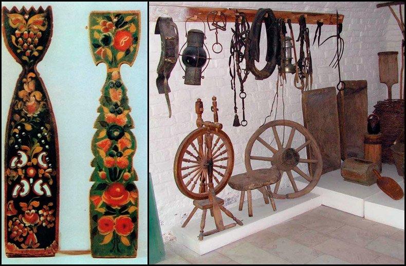 Старинные прялки и детали прялок фото