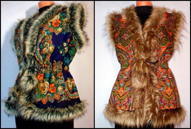 Павловопосадские платки и жилеты
