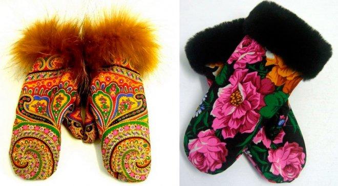 Павловопосадские орнаменты на рукавицах