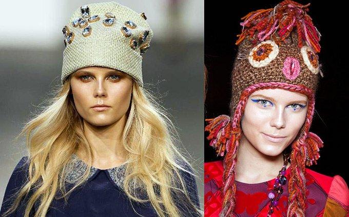 Модные вязаные шапочки, теплые шапки, зима 2012-2013
