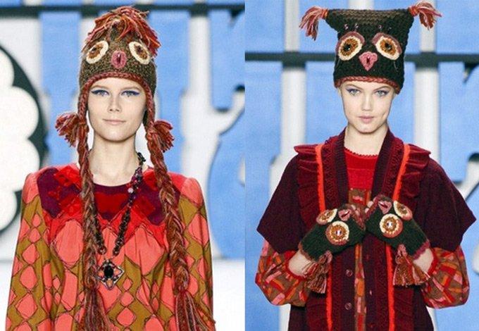 теплые вязаные шапки зима 2012-2013
