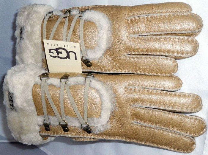 Модные кожаные перчатки ugg