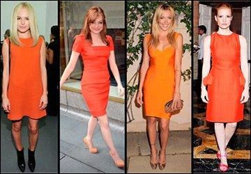 Оранжевые платья и соответствующий макияж