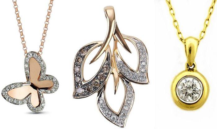 Золотые подвески-кулоны с бриллиантами, ювелирные изделия
