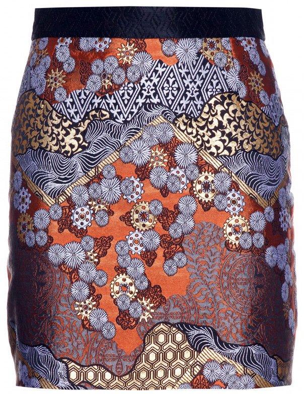 Современная юбка из парчи