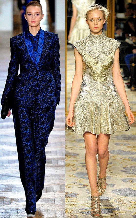 Ткань парча в современной одежде, фото