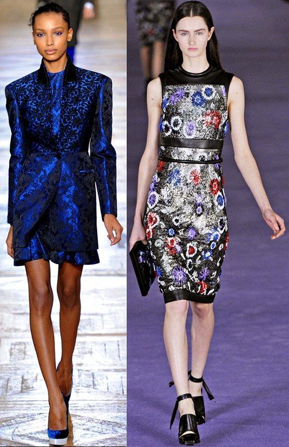 Модели демонстрируют одежду из парчи