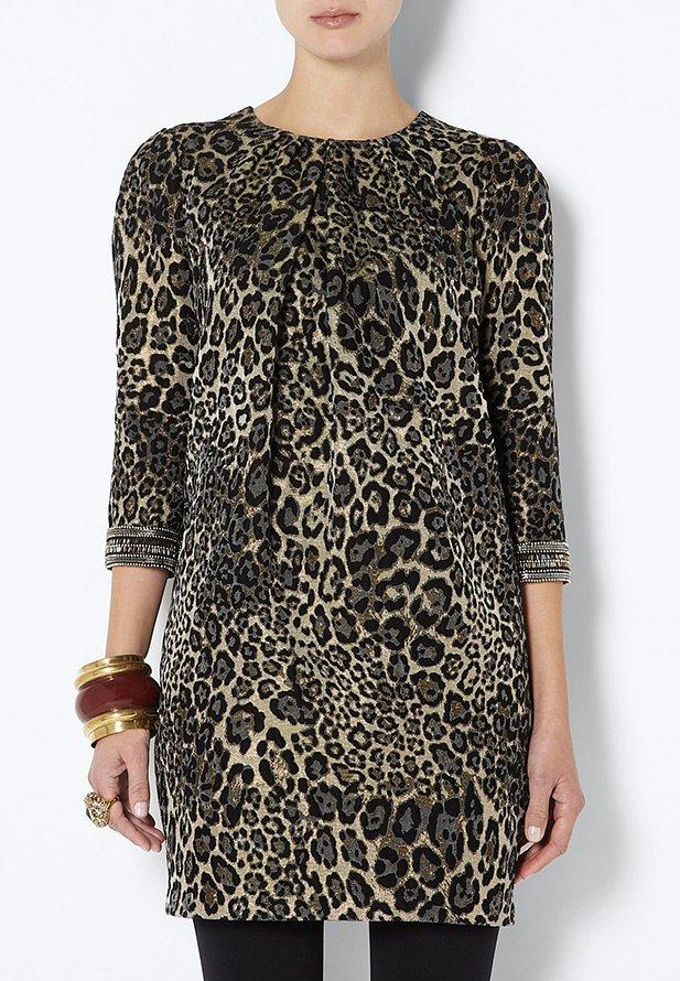 Платье леопардовое, ткань парча, фото