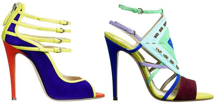Модная обувь на высокой шпильке с тоненькими ремешками весна-лето 2013 фото