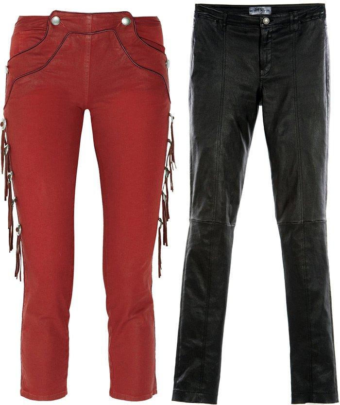 Модные джинсы имитирующие кожу, фото