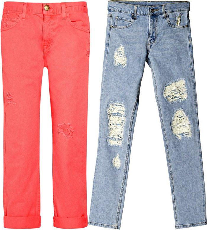 Рваные джинсы снова в моде весной летом 2013
