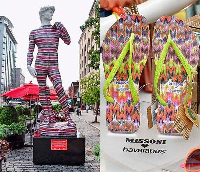 Статуя Давида в одежде от Миссони фото