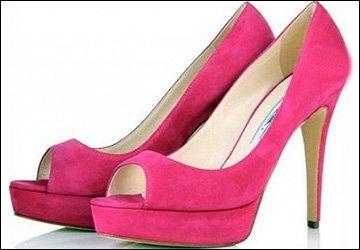 Модные розовые туфли на каблуке