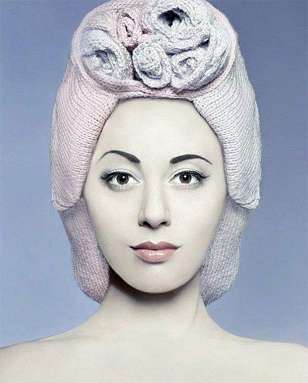 Вязаная шапка – парик, фото