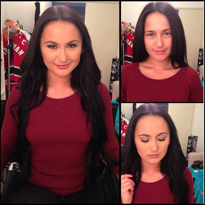 Девушка и макияж, фото до и после макияжа
