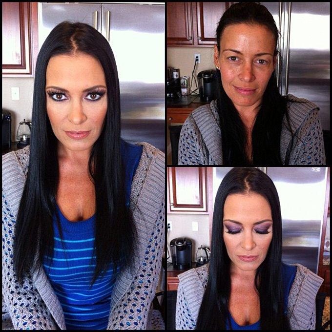 Девушка и макияж, фото до и после