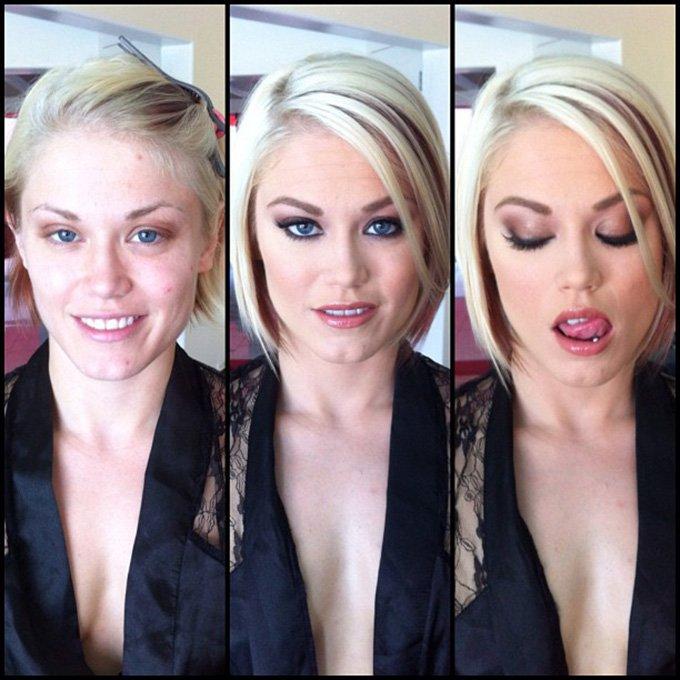 Макияж, фотография девушки до и после