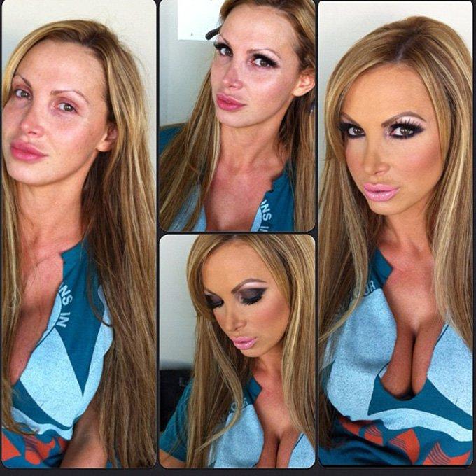 Фотография девушки до и после макияжа