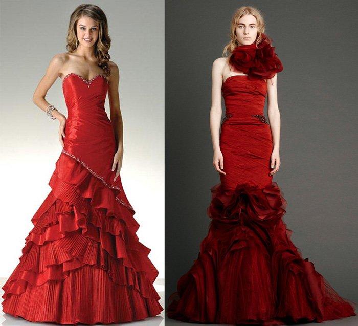 Красные свадебные платья, фото