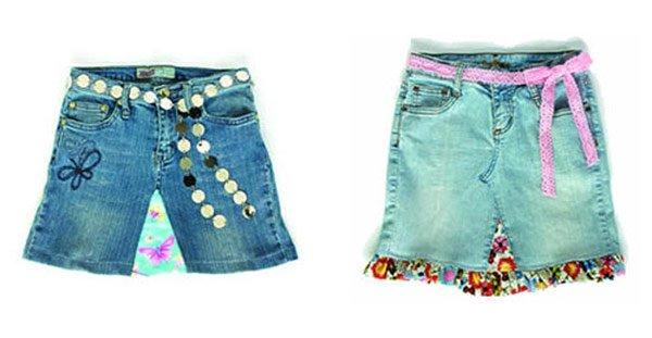 Юбка из старых джинсов и ткани