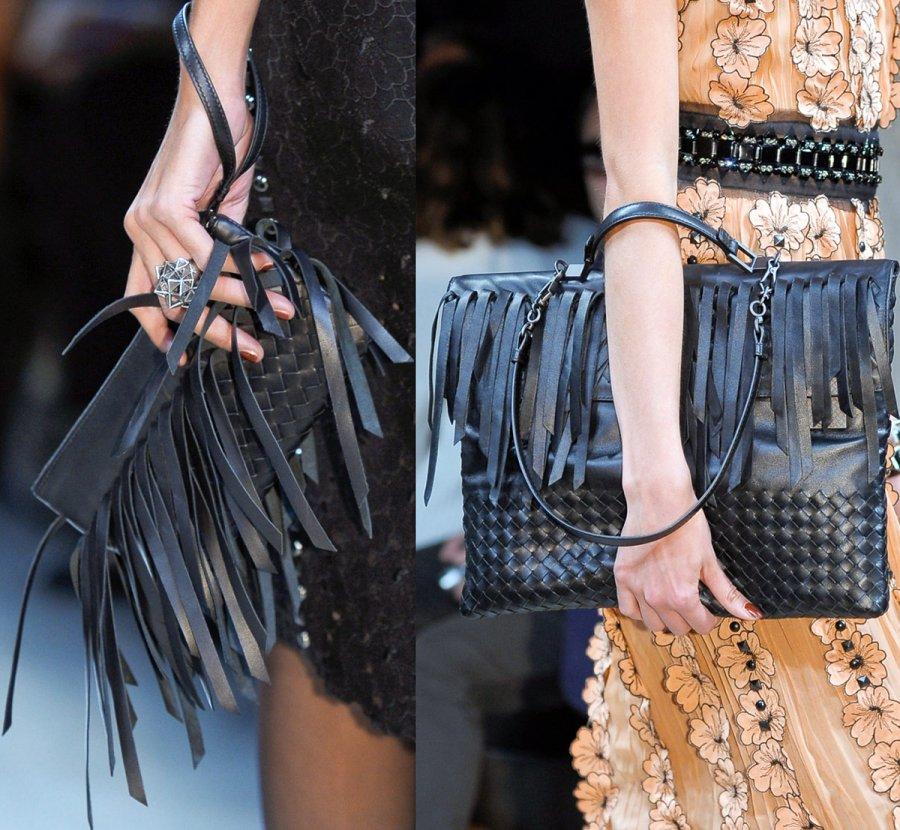 Модные женские сумки украшенные бахромой, фото