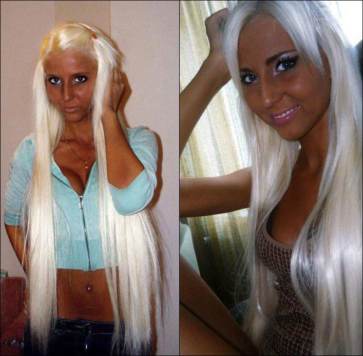 Нигритоска с белыми волосами