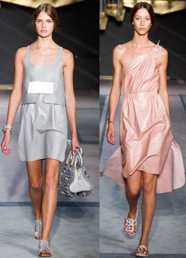 Кожаные платья - фото платьев 2014, девушки в платьях из кожи