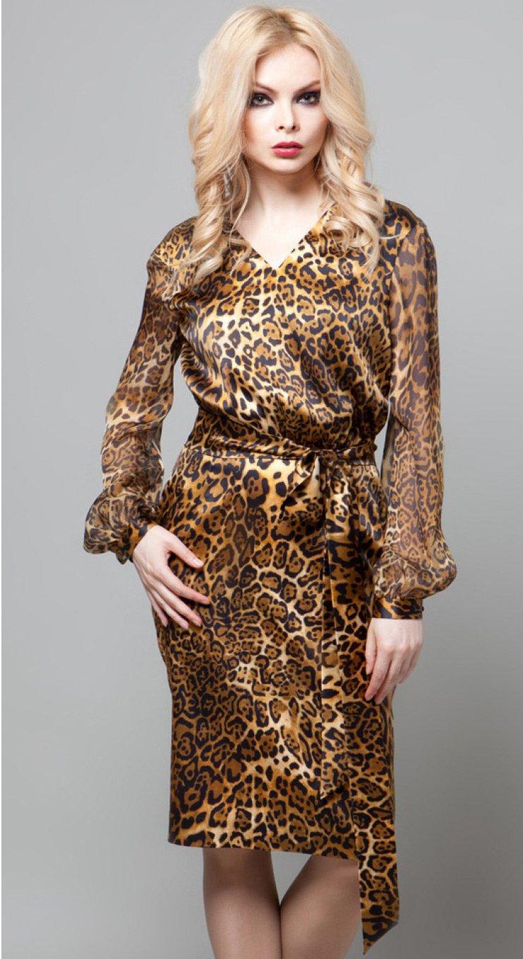 Фасон коротких сексуальных платей из тигровой ткани