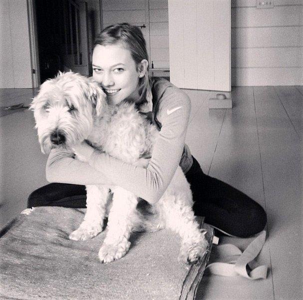 Топ-модель Karlie Kloss, фото с собакой