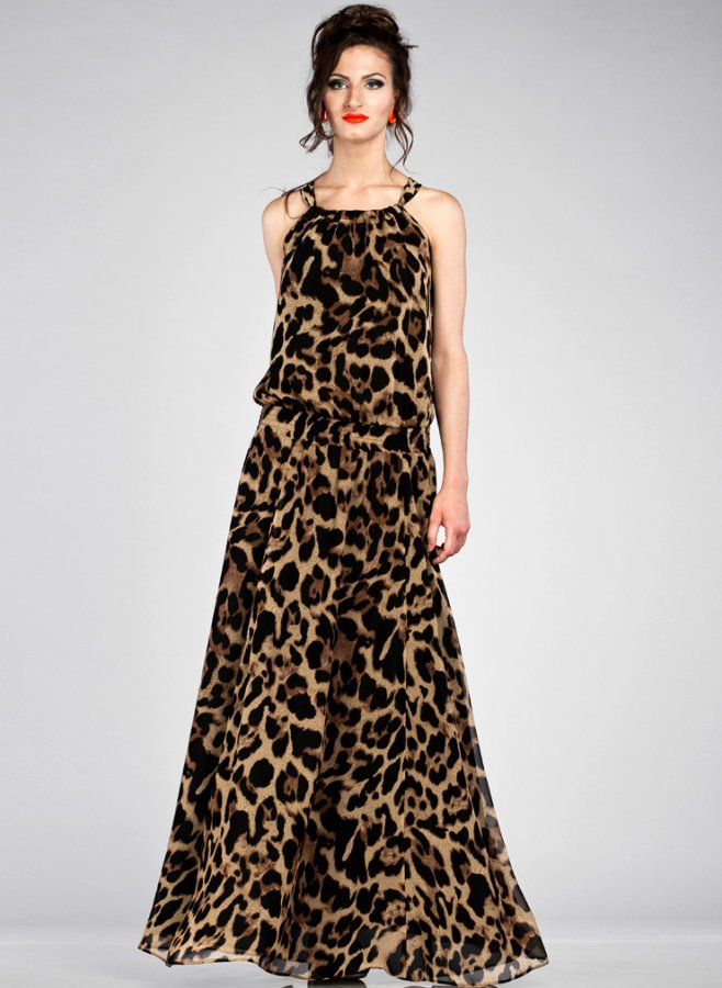 Леопардовое платье в пол, фото