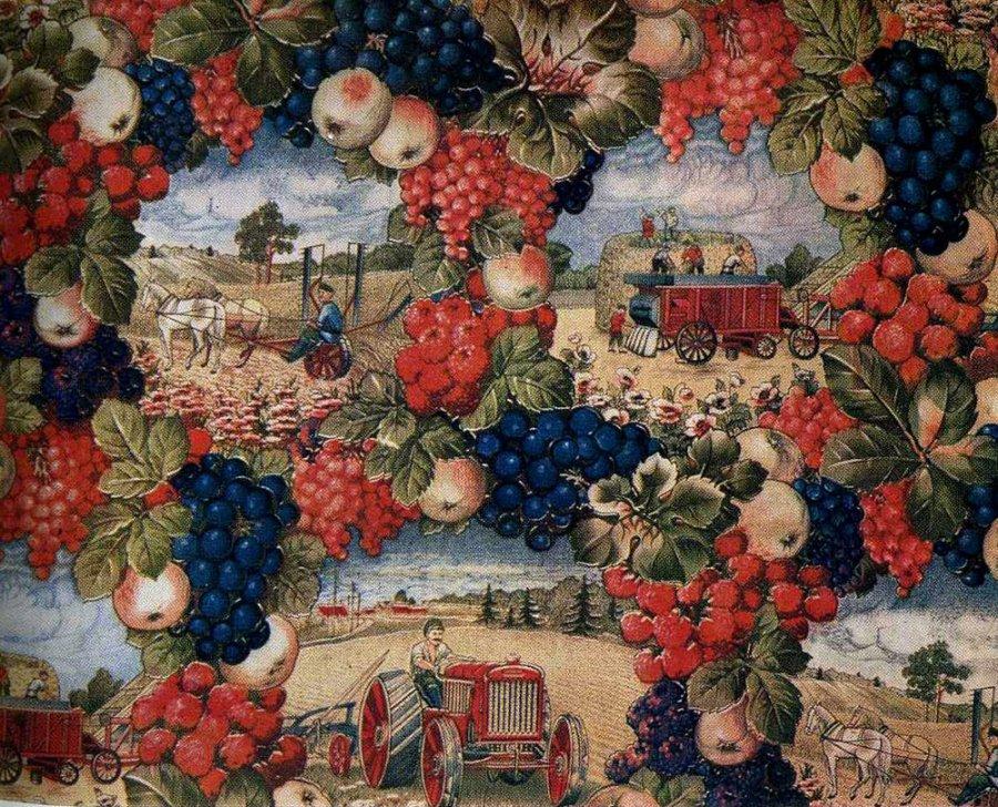 Труженики советского села – принт на ткани