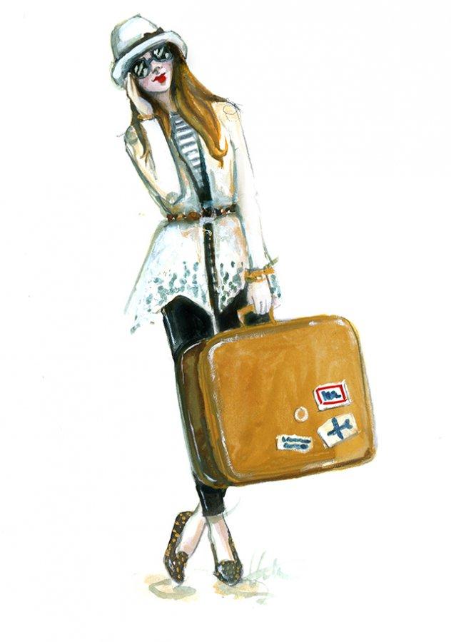 рисунок девушка с чемоданом