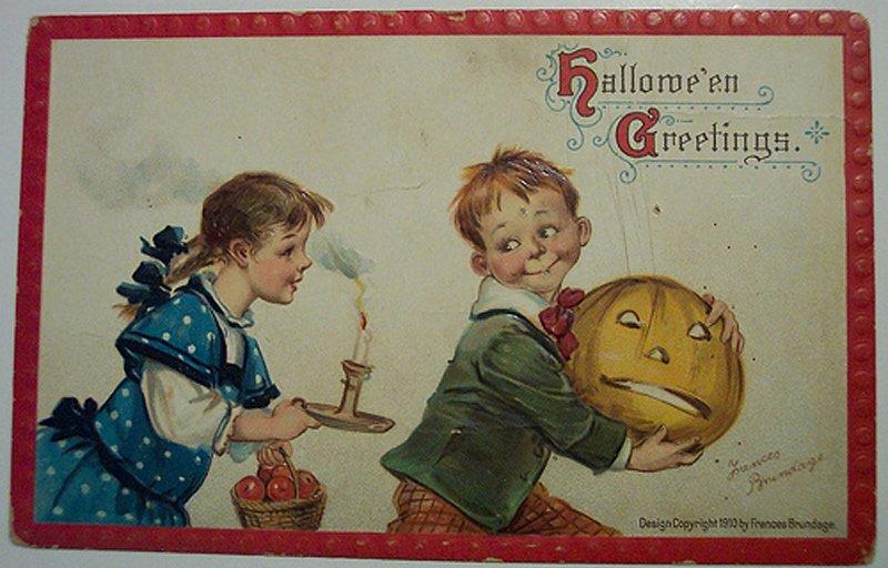 Антикварная открытка – мальчик и девочка