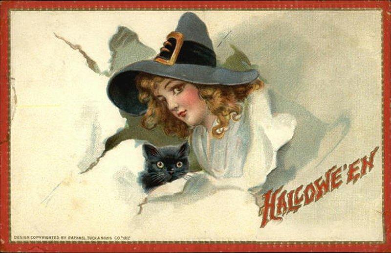 Девочка с кошкой – антикварная открытка