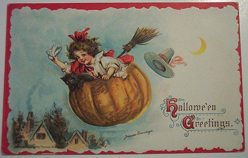 Девочка с метлой – антикварная открытка