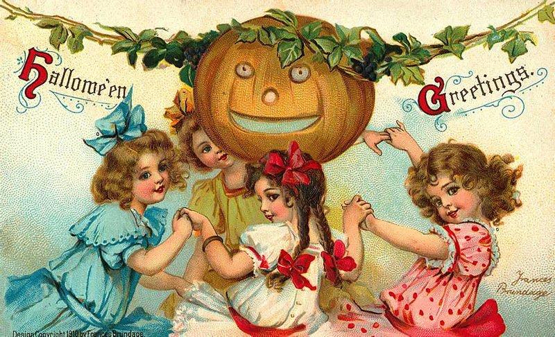 Антикварные открытки по теме Хеллоуин
