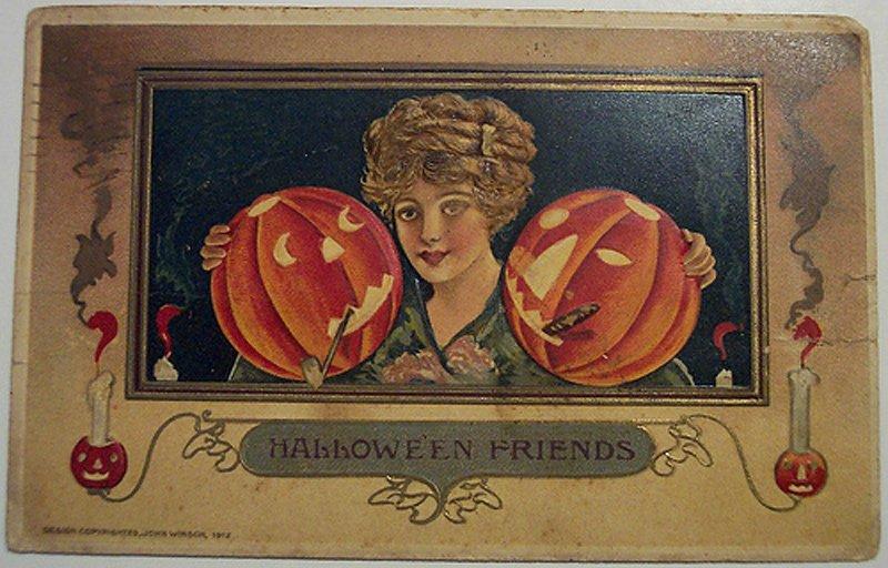 Антикварная открытка - Хеллоуин