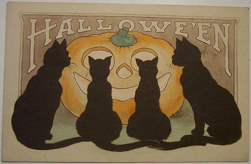 Черные кошки – антикварная открытка