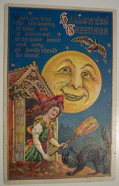 Луна – винтажная открытка