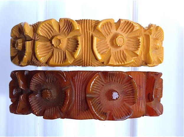 Красивые резные винтажные браслеты из бакелита