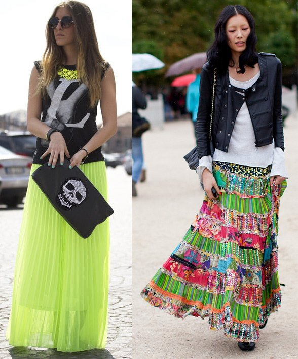Как сочетать макси юбку с другой одеждой