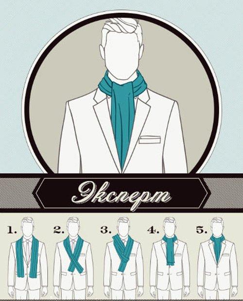 Вариант ношения мужского шарфа