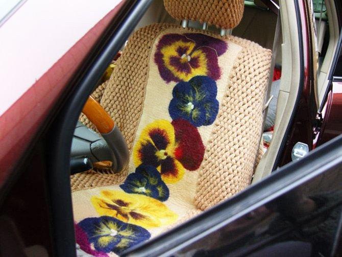 Вязаные чехлы с цветами