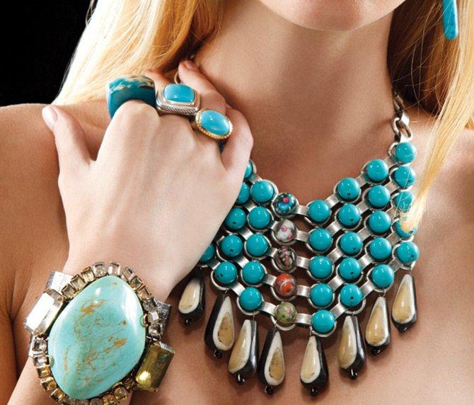 Модные украшения из бирюзы, фото