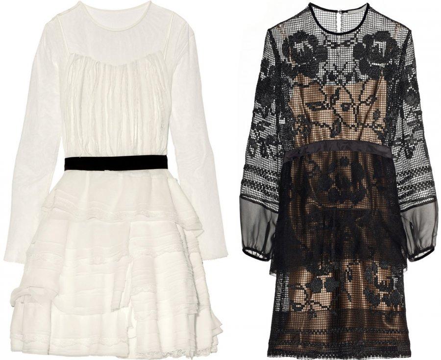 Черное и белое платье от Альберты Ферретти