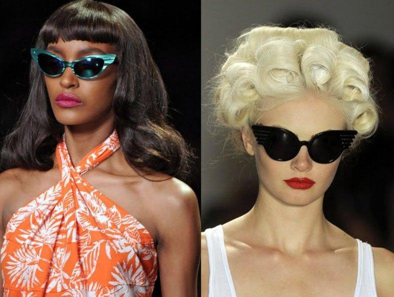 Модели в солнцезащитных очках Cat Eye – кошачьи глазки