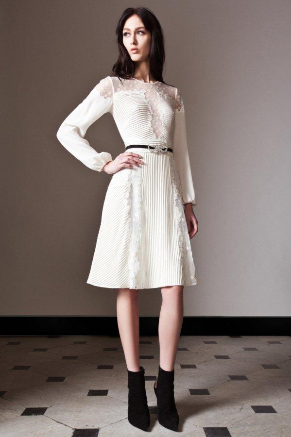 Белое платье осень-зима 2014-2015, фото