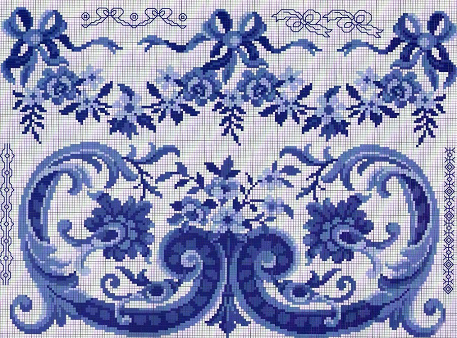 Гжель – схема для вышивки крестиком